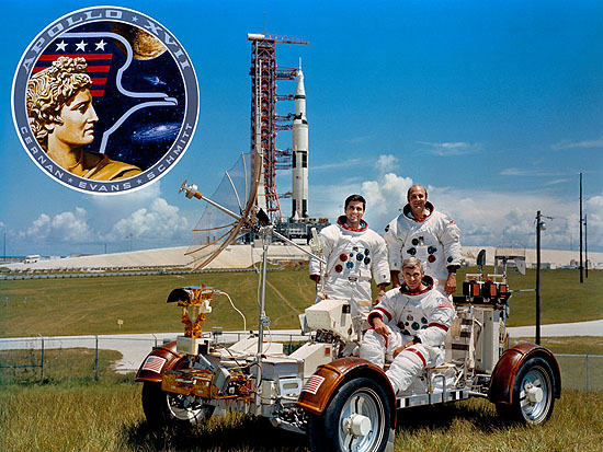 This week in 1972, Apollo 17, the final crewed lunar-landing mission, launched from NASA's Kennedy Space Center. The scientific mission, which included three days on the lunar surface, was the third to employ the Lunar Roving Vehicle that was developed and managed by NASA's Marshall Space Flight Center. From left, astronauts Harrison Schmitt, Eugene Cernan and Ronald Evans are photographed with a lunar rover trainer and the mission's Saturn V rocket, which was also developed and managed by Marshall. Today, Marshall is developing NASA's Space Launch System, the most powerful rocket ever built that will be capable of sending astronauts deeper into space than ever before, including to an asteroid and Mars. The NASA History Program is responsible for generating, disseminating and preserving NASA's remarkable history and providing a comprehensive understanding of the institutional, cultural, social, political, economic, technological and scientific aspects of NASA's activities in aeronautics and space. Image Credit: NASA