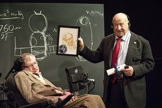 Alexei Leonov presenting Professor Stephen Hawking with a portrait he sketched of him during lunch together. In March 1965, Alexei Leonov stepped out of his Voskhod 2 spacecraft and into the history books as the first human to walk in space.