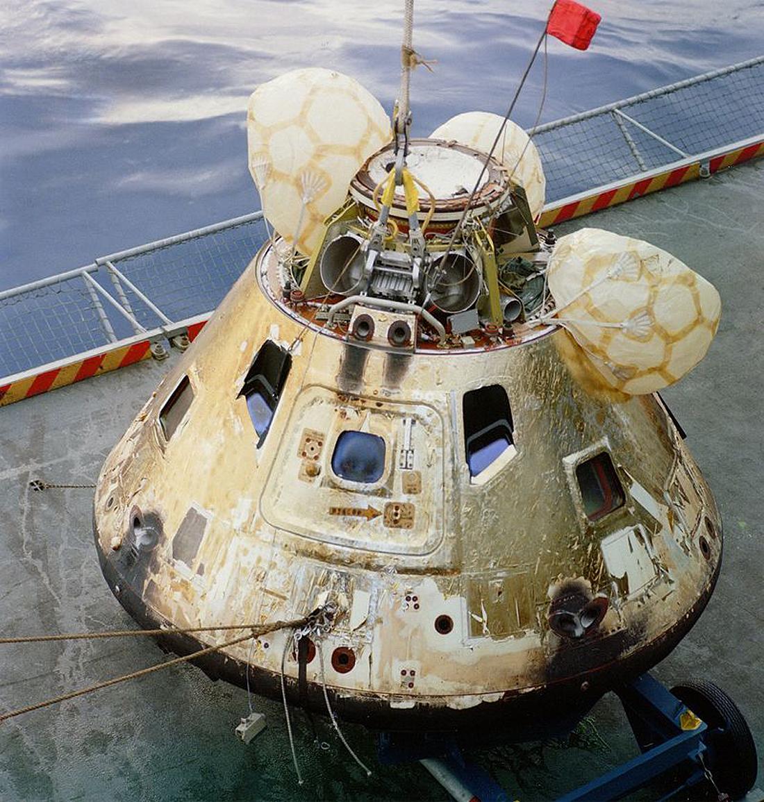 NASA Apollo 8, Borman, Anders, Lovell, command module in USS Yorktown