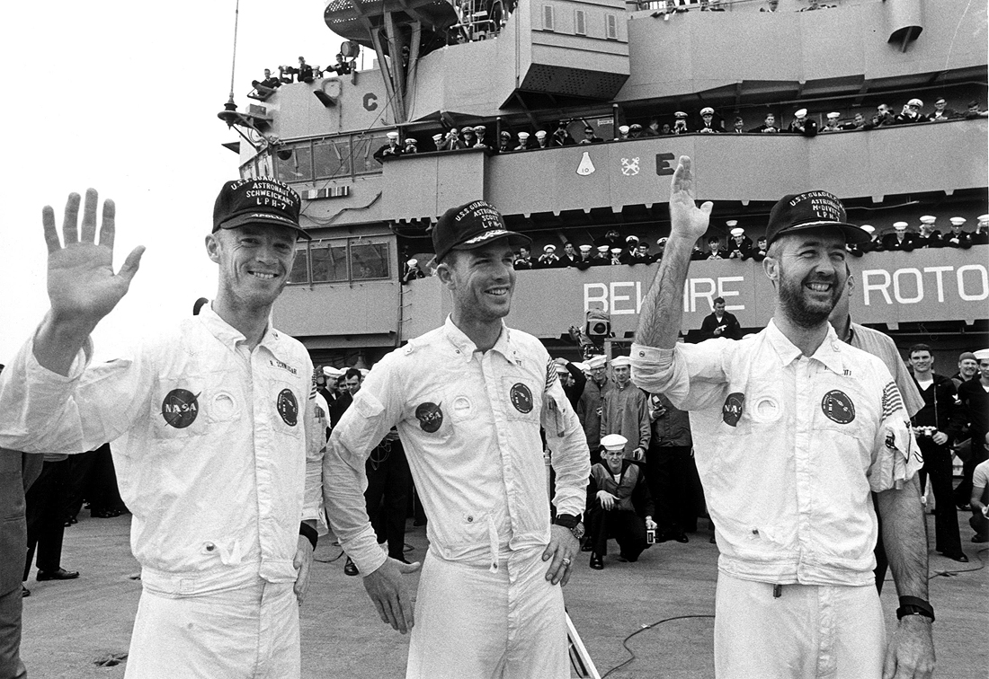 NASA crew on ship Guadalcanal