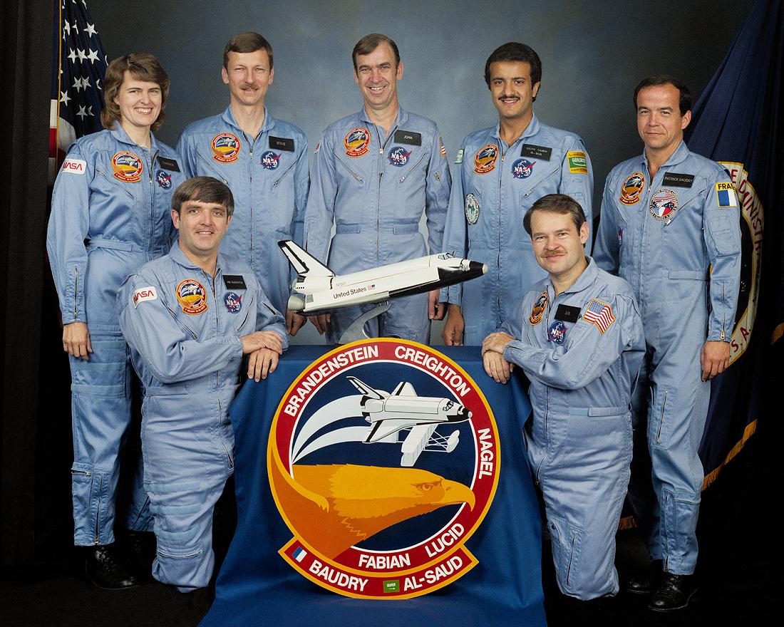 Skripochka, Meir, Mansouri, STS_51-G crew Al Saud