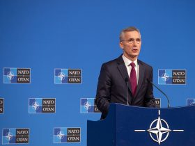 NATO, kosmosas, Stoltenberg Meetings of the Ministers of Foreign Affairs at NATO Headquarters in Brussels- Press Conference by NATO Secretary General