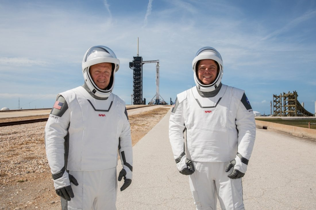 NASA astronauts Douglas Hurley Bob Behnken at LC39A SpaceX