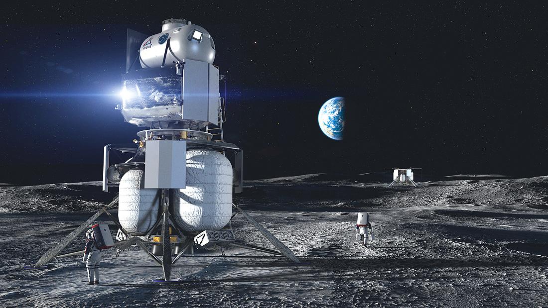 Moon lander Blue Origin, HSL, NASA