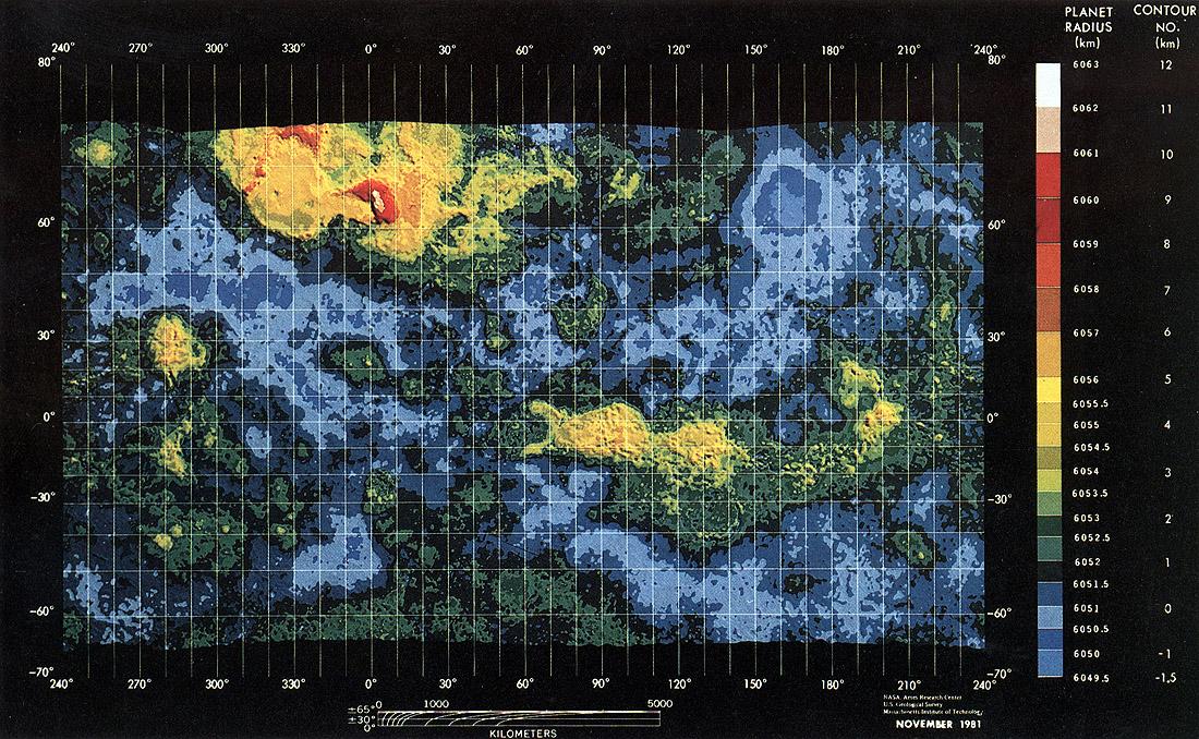 Venera topographic map of venus 1981
