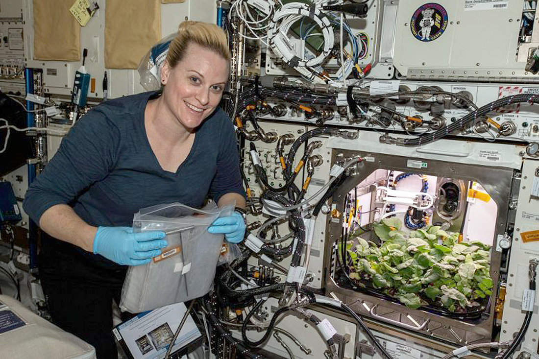Nauka Kate-Rubins-Checks-Out-Radish-Plants